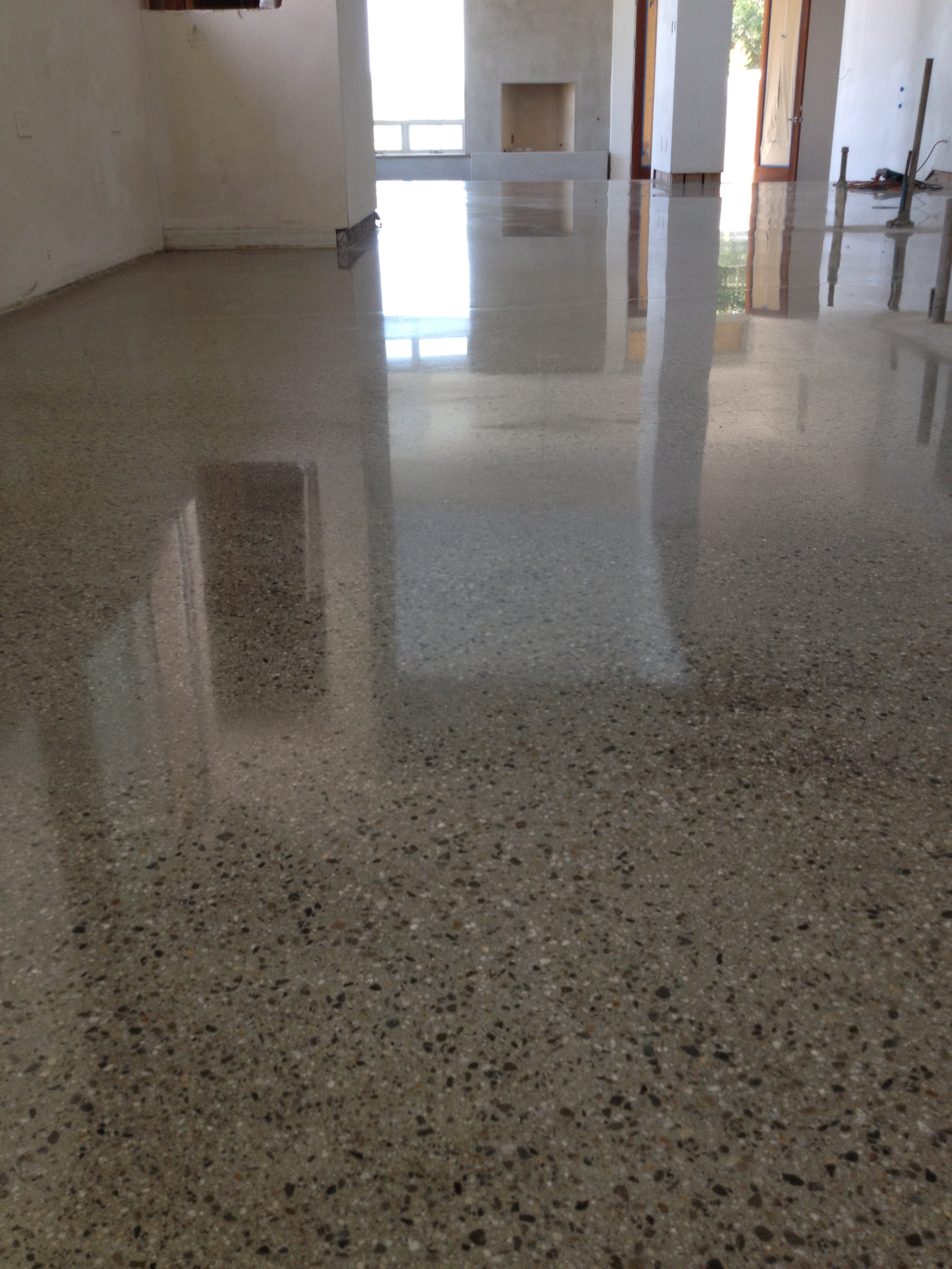How to clean and shine stained concrete floors thefloors co for How to wash concrete floors